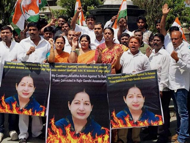Members of Youth Congress stage protest in Bengaluru on Friday against Tamil Nadu government's letter to the Centre to release the convicts in Rajiv Gandhi assassination case.