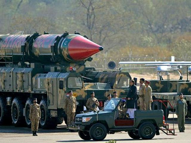 A Pakistani missile capable of carrying nuclear arms on display during a parade..