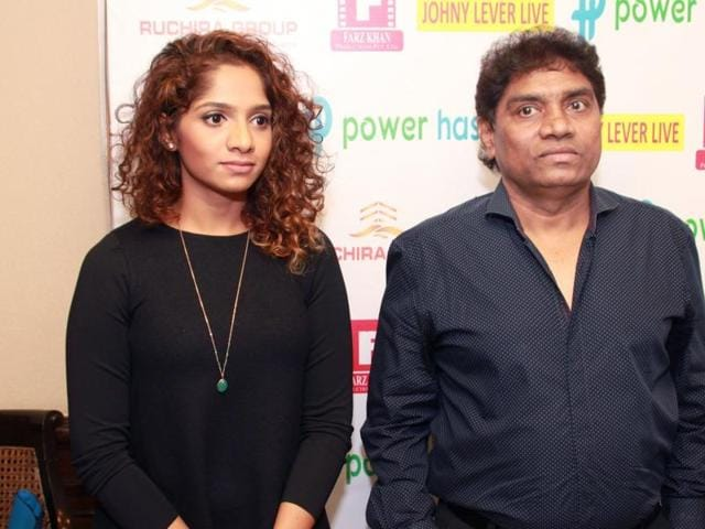 New Delhi: Actor Johnny Lever with daughter Jamie at a press meet in New Delhi on March 04, 2016.