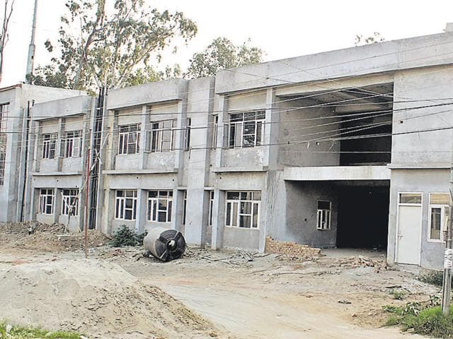View of the incomplete drug de-addiction centre in Rajindra Hospital n Patiala on Saturday.