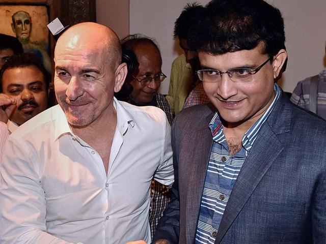 Atletico de Kolkata team co-owner Sourav Ganguly and head coach Antonio Habas.