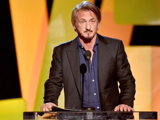 Sean Penn speaking during the 2016 Film Independent Spirit Awards in California on February 27.