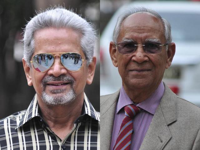 Air Vice-Marshal (retd) Bhupindra Kumar Bishnoi (right) and wing commander (retd) Vinod Nebb (left)
