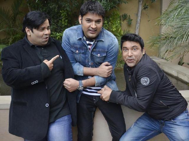 Comedian Kapil Sharma, Kiku Sharda and Chandan Prabhakar during a promotional event for their show in Amritsar on March 5.