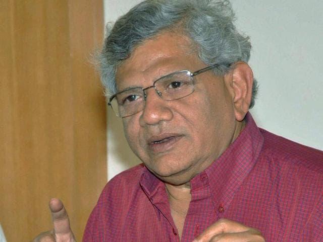 CPI (M) general secretary Sitaram Yechury addresses a press conference in Mumbai.