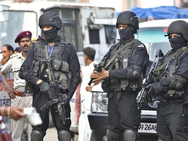 Security tightened outside airport in Ahmedabad after high level security alert issued in Gujarat. Four teams of NSG have also been sent following reports of Jaish and LeT militants entering the state to launch attacks.