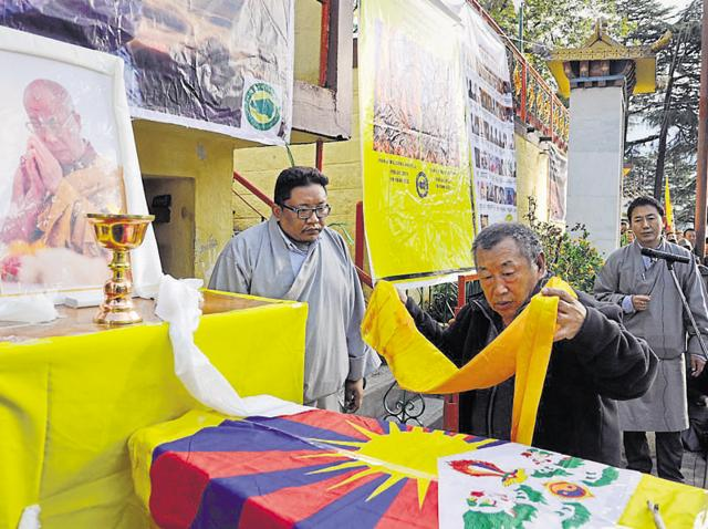 Thupten Tashi, father of Dorjee Tsering, the 16-year-old Tibetan student who immolated himself at Lha Gyari temple in Mcleodganj on Sunday.