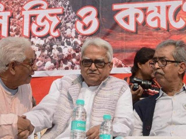 West Bengal Left Front Chairman Biman Basu (C) with former State CPI Secretary Manju Kumar Majumdar .