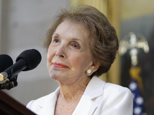 The former first lady died Sunday at her home in the Bel-Air section of Los Angeles of congestive heart failure.