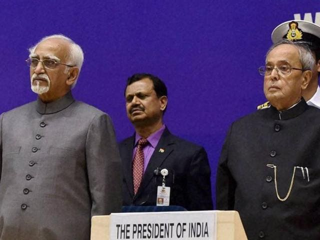 President, Pranab Mukherjee, vice president M Hamid Ansari and Prime Minister Narendra Modi during the inaugural session of the National Conference of Women Legislators in New Delhi on Saturday.