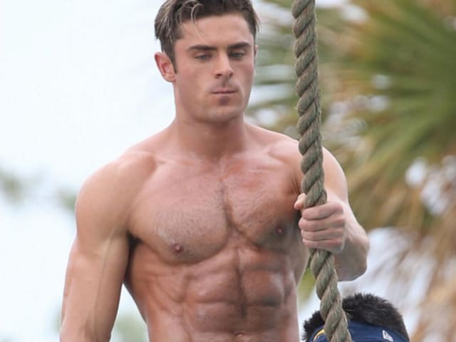 Efron plays lifeguard Matt Brody in the movie and Dwayne Johnson plays lifeguard Mitch Buchannon.