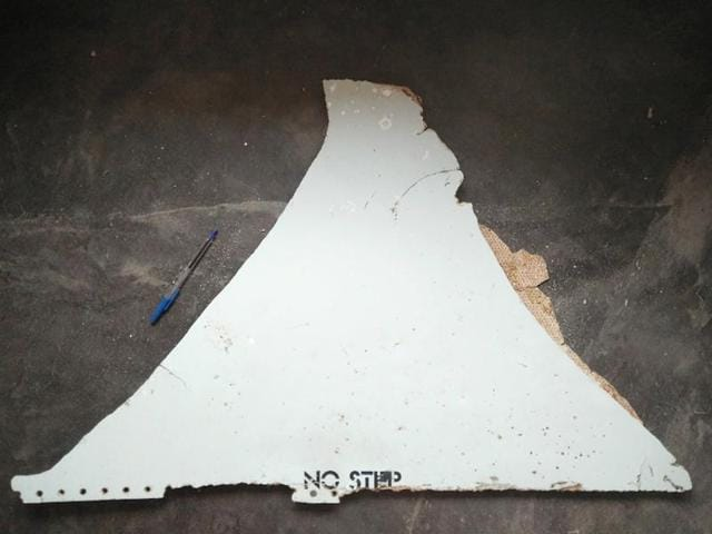 An undated handout photo shows a suspected piece of aircraft debris found on the coast of Mozambique.