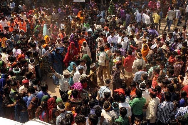 Tribals dance during Bhagoria celebrations in Alirajpur district.