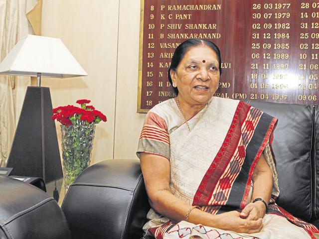 Gujarat chief minister Anandiben Patel at a meeting at Shram Shakti Bhawan in New Delhi.