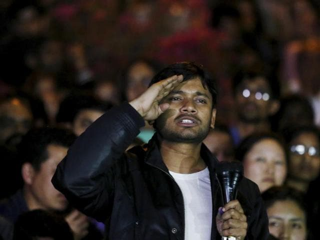 Kanhaiya Kumar addresses JNU students after his release on March 3.