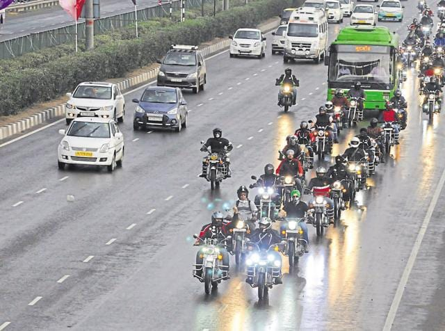 Around 110 members of a social media group, Royal Enfield Delhi, participated in the ride on Sunday.