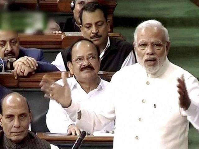 File Photo of Prime Minister Narendra Modi speaking in Lok Sabha.