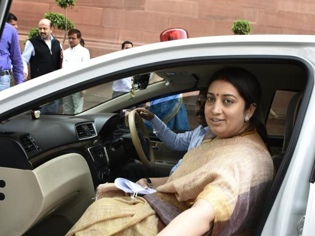 Union HRD minister Smriti Irani at Parliament house during budget session in New Delhi on Thursday, March 3, 2016.