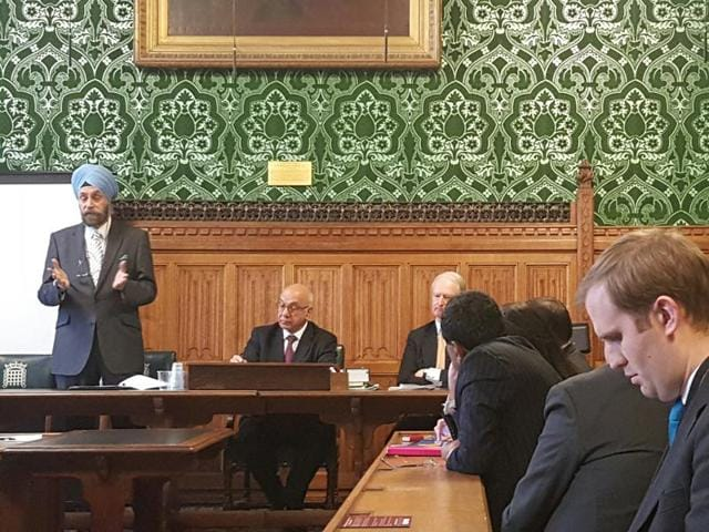 Indian high commissioner Navtej Sarna addresses a joint meeting of the Commonwealth and Indo-British All Party Parliamentary Groups in the House of Lords in London on Tuesday.