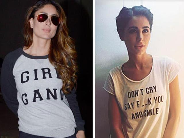 Actors Kareena Kapoor, Nargis Fakhri and Kriti Sanon rock slogan tees.