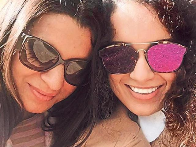 Kangana Ranaut with her elder sister Rangoli who was attacked with acid by an obsessed lover.