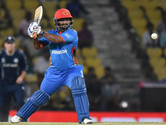 Mohammad Shahzad of Afghanistan during a match against Scotland at Vidarbha Cricket Association in Nagpur.
