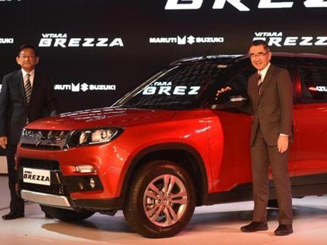 Suzuki Motor's president Toshihiro Suzuki (R) and Kenichi Ayukawa, managing director and CEO of Maruti Suzuki India Ltd, at the unveiling of Vitara Brezza at Auto Expo 2016 last month.