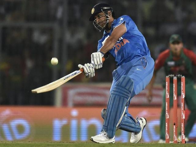 Mahendra Singh Dhoni finished off the Asia Cup final against Bangladesh with two big sixes in the penultimate over.