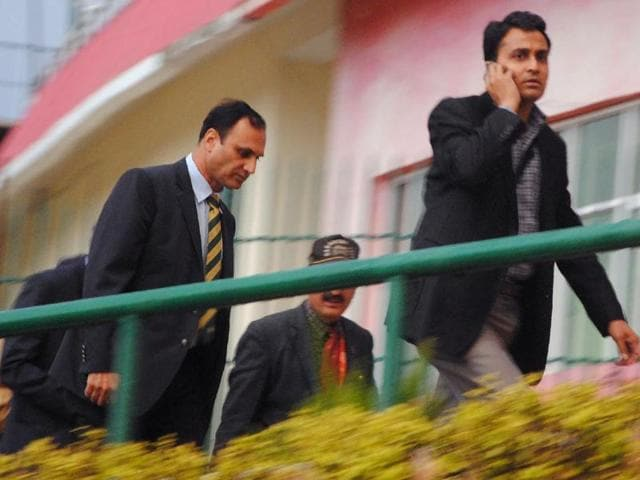 Members of a Pakistani security team arrive at the cricket stadium in Dharamsala on Saturday to conduct a security assessment ahead of the World Twenty20  encounter here against Pakistan on March 19.