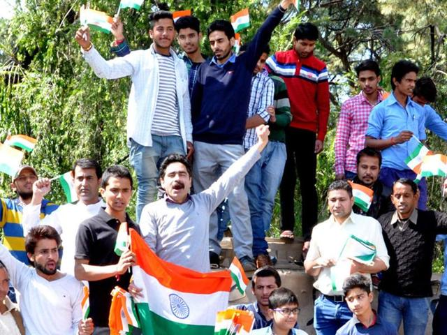 Sons of slain soldiers Jagdish Chand and Sanjeevan Singh Rana along with other local youths staged a protest at the Dharamshala Martyrs' Memorial.