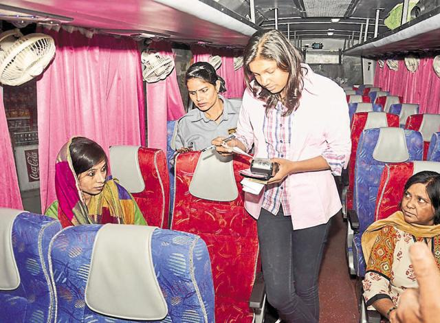 The Uttar Pradesh State Road Transport Corporation started the Pink Express in February last year to provide women with a safer travel option. Though men drive these buses, women conductors manage them.