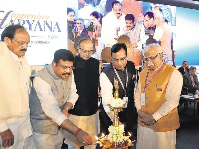(From left) Union ministers Venkaiah Naidu, Dharmendra Pradhan and Arun Jaitley, Haryana industries minister Captain Abhimanyu and Haryana chief minister Manohar Lal Khattar at the inauguration of the summit in Gurgaon on Monday.