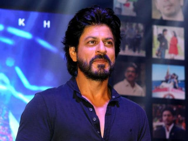 Bollywood actor Shah Rukh Khan poses during the trailer launch of his forthcoming Hindi film Fan.
