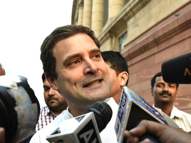 File photo of  Congress leader Rahul Gandhi  outside Parliament House in New Delhi.