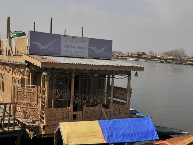 The floating Post Office moored on the western edge of the Dal Lake alongside the Boulevard Road in Srinagar, Jammu and Kashmir.