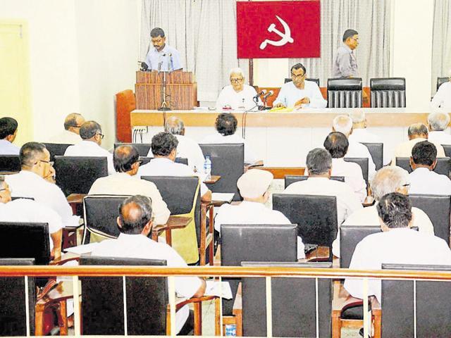 CPI(M) state secretary Surya Kanta Mishra and Left Front chairman Biman Bose at a party meeting in Kolkata.