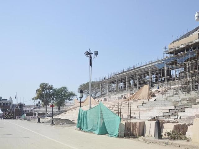 Work on the new visitors' gallery at the Attari border in progress on Wednesday.