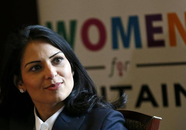 "Britain's minister of state for employment Priti Patel speaks at the launch of the ""Women for Britain"" campaign in London on Tuesday."