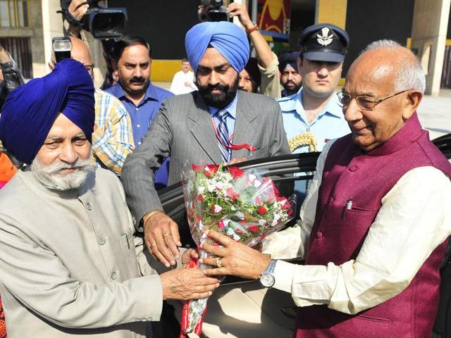 Speaker Charanjit Singh Atwal welcoming governor Kaptan Singh Solanki to the budget session at the Punjab Vidhan Sabha in Chandigarh on Tuesday.