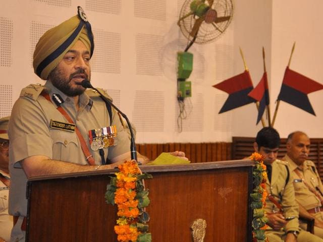 Newly appointed IGP Tajender Singh Luthra during his welcome ceremony at the police lines, Sector 26, Chandigarh, on Wednesday.