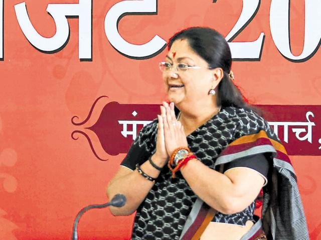 Chief minister Vasundhara Raje greets media at a press conference after presenting the budget in the Assembly.