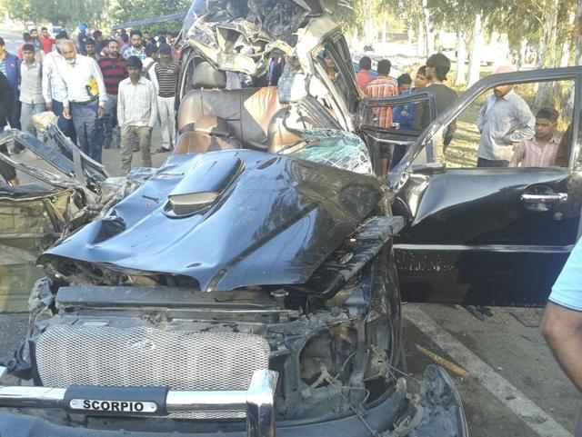 Mangled remains of the SUV at Chabbewal in Hoshiarpur on Tuesday.