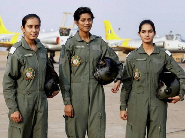 The three cadets who will be inducted in the Indian Air Force on June 18 as the first batch of women fighter pilots.