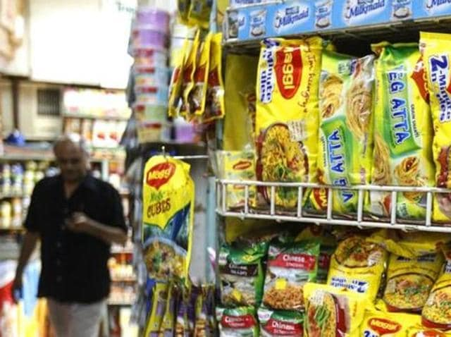 A file photo of packets of Nestle's Maggi instant noodles at a shop.