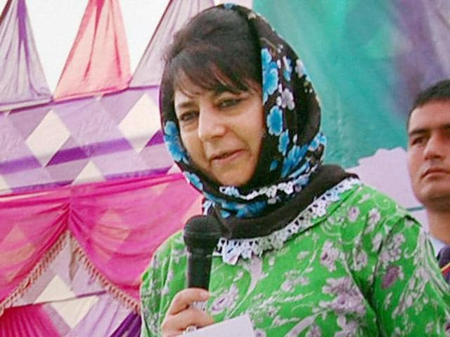 PDP president Mehbooba Mufti speaks during a membership drive of the party at Vijay Pora, in Jammu.