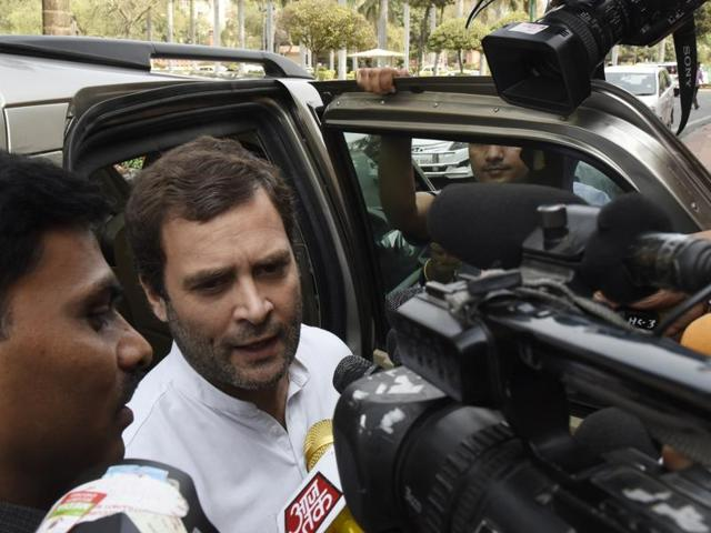 Congress vice-president Rahul Gandhi is seen outside Parliament during the ongoing Budget session.