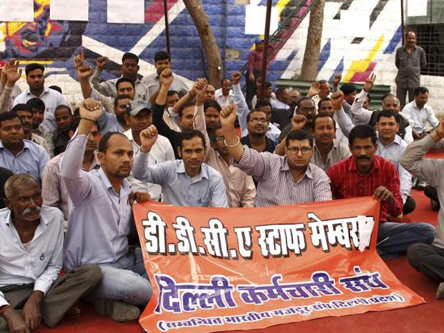 Protest by DDCA staff at Firoz Shah Kotla in New Delhi, on Saturday.