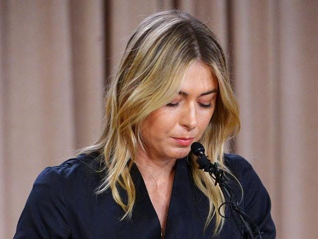 Maria Sharapova speaks to the media, announcing a failed drug test after the Australian Open during a press conference at the LA Hotel Downtown.