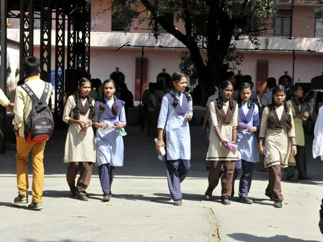 Students coming out of an exam centre in Indore.The MP board exams began on March 1.