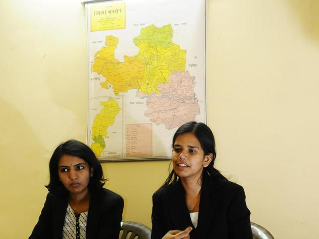 Advocates Shalini Gera (right) and Isha Khandelwal in New Delhi. The two and advocate Devesh Agnihotri of the same group were forced to leave their legal practice in Jagdalpur.